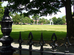 A recent shot of Salem Common with the antique iron fence in the foreground.