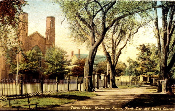 Another antique postcard. this time facing the Salem Witch Museum from inside the Common.